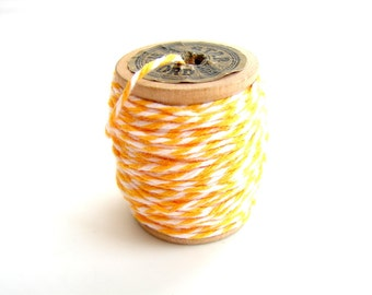 Starlight Yellow and White Bakers Twine (10 yards) on Vintage Spool - Gift Wrapping, Crafts, and more