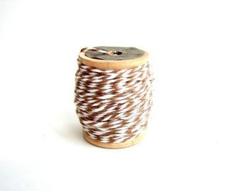 Brown and White Bakers Twine (10 yards) on Vintage Spool - Gift Wrapping, Crafts, and more
