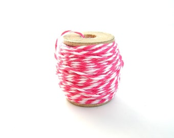 Rosy Cheeks Pink and White Bakers Twine (10 yards) on Vintage Spool - Gift Wrapping, Crafts, and more