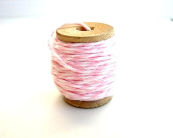 First Blush Pink and White Bakers Twine (10 yards) on Vintage Spool - Gift Wrapping, Crafts, and more