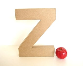 "Paper Mache Letter Z (12"" tall) - Ready to Decorate Blank Letter, Home Decor, and more"