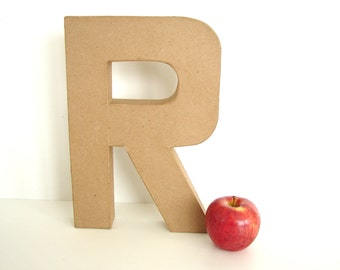 """Paper Mache Letter R (12"""" tall) - Ready to Decorate Blank Letter, Home Decor, and more"""