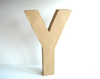 "Paper Mache Letter Y (12"" tall) - Ready to Decorate Blank Letter, Home Decor, and more"