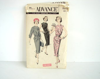 Vintage 1950s Advance Pattern 8614, Slim Dress, Unused - Womens Size 14 Sewing Pattern, Collectible