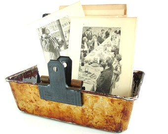 Vintage Metal Bread Loaf Baking Pan / Tin with Unique Baked-on Patina (N3) - Office Organizer, Storage Tin, Home Decor, and more