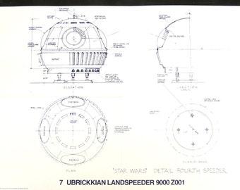 Vintage Star Wars Blueprint for Ubrickkian Landspeeder 9000 Z001 (7) - Collectible, Home Decor, altered art and more