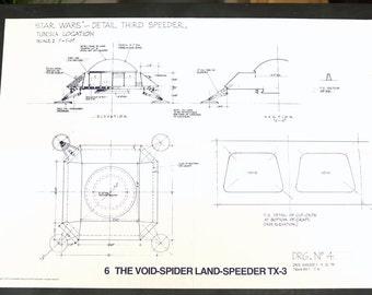 Vintage Star Wars Blueprint for Void Spider Landspeeder TX3 (6) - Collectible, Home Decor, altered art and more