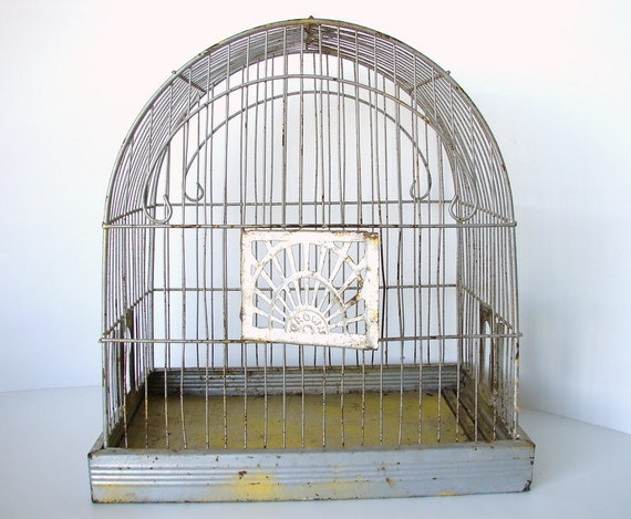 Vintage French-Style Crown Wire Bird Cage / Birdcage - Très chic with all the right rust and patina