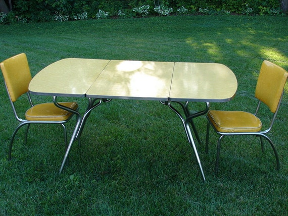 vintage yellow drop leaf formica table and two yellow vinyl. Black Bedroom Furniture Sets. Home Design Ideas