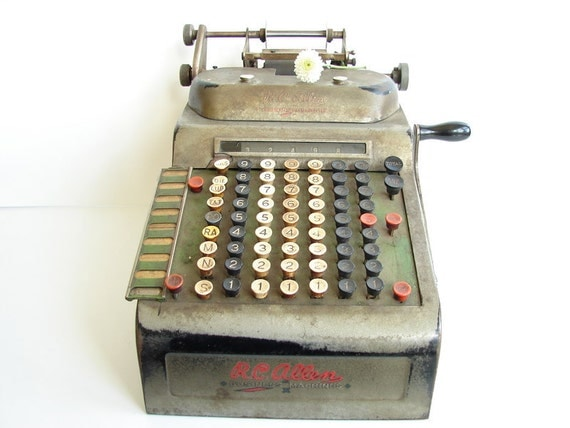 RESERVED FOR EvaGin --- Vintage RC Allen Business Machines Adding Machine and Combination Cash Register - Industrial Decor