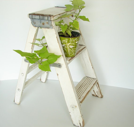 Vintage Wooden Folding Step Ladder In Chippy White Paint