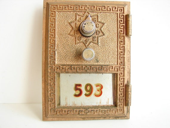 Vintage Brass Post Office Box / Mailbox Door and Frame from 1966 - Keyless Lock Co. (No. 593)