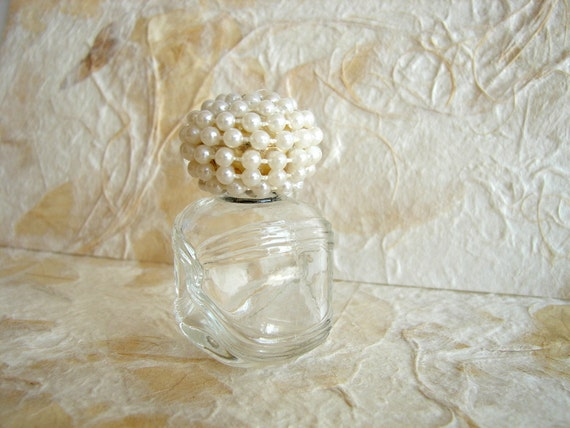 Vintage Glass Perfume Bottle with Pearl and Rhinestone Cap (Avon Perfume Bottle) - Bottle your own scent