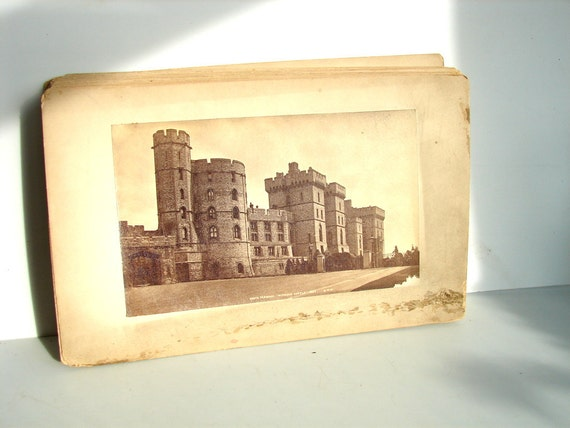 "Vintage European Photo Card - Windsor Castle, South Terrace (10-3/4"" x 6-3/4"") - Collectible, ephemera, altered art"