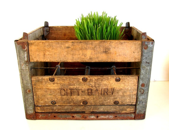 Vintage / Antique Wood and Metal Dairy Crate from St. Paul Minnesota (c1920s) - Industrial Decor, Rustic Farmhouse, Storage, and more