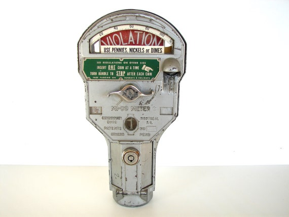 Vintage Parking Meter (Pennies, Nickels, Dimes)  - Industrial Home Decor, Man Cave