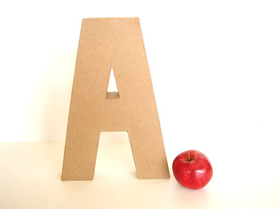 """Paper Mache Letter A (12"""" tall) - Ready to Decorate Blank Letter, Home Decor, and more"""