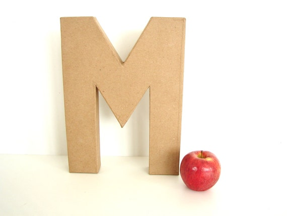 """Paper Mache Letter M (12"""" tall) - Ready to Decorate Blank Letter, Home Decor, and more"""