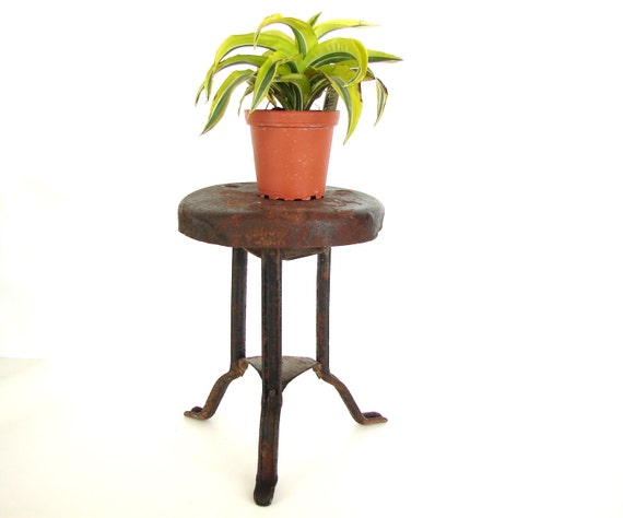 Vintage / Antique Metal Milking Stool / Three Leg Stool - Rustic Home Decor, Plant Stand, and more