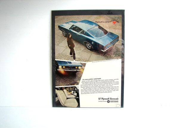 Vintage Plymouth Barracuda Original Print Ad, Period Paper (1967) - Collectible, Ephemera