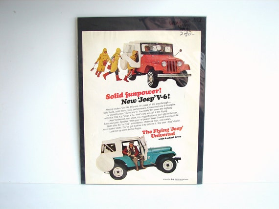 Vintage Kaiser Jeep Corp. Wagoneer V-6 Original Print Ad, Period Paper (1965) - Collectible, Ephemera