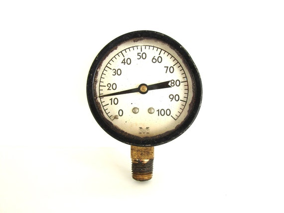 Vintage Pressure Gauge in Black and White - Collectible, Industrial Decor, Altered Art, Steampunk