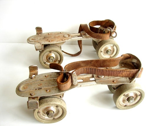Vintage Adjustable Metal Roller Skates with Leather Straps - Collectible, Home Decor, Bookends, Plant Holder, and more