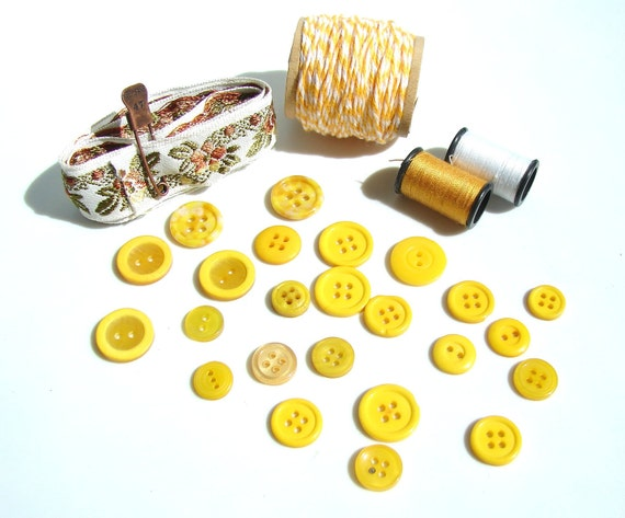 Vintage Bright Yellow Buttons and Ribbon, Twine, Thread Destash Inspiration Kit - Gift Wrapping, Collage, Altered Art, and more