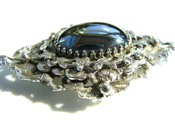 Vintage Ornate Silvertone Brooch with Reflective Black Center Piece and Intricate Layers (3 inches wide) - Great Gift, Altered Art, and more