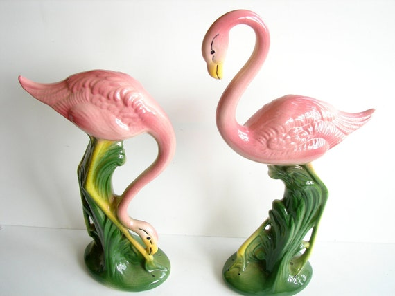 "Vintage / Antique Pink Flamingo Figurines (Set of 2), California Pottery (16"" tall) - Collectible, Home Decor"