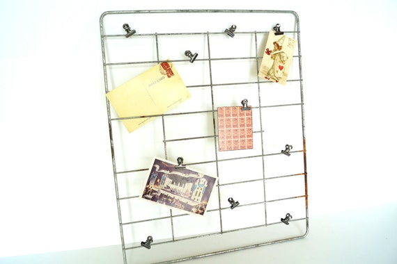 RESERVED FOR KERRI --- Vintage Metal Rack (16x19) with 10 Hinge Clips - Repurpose as an inspiration board, memo board, photo holder