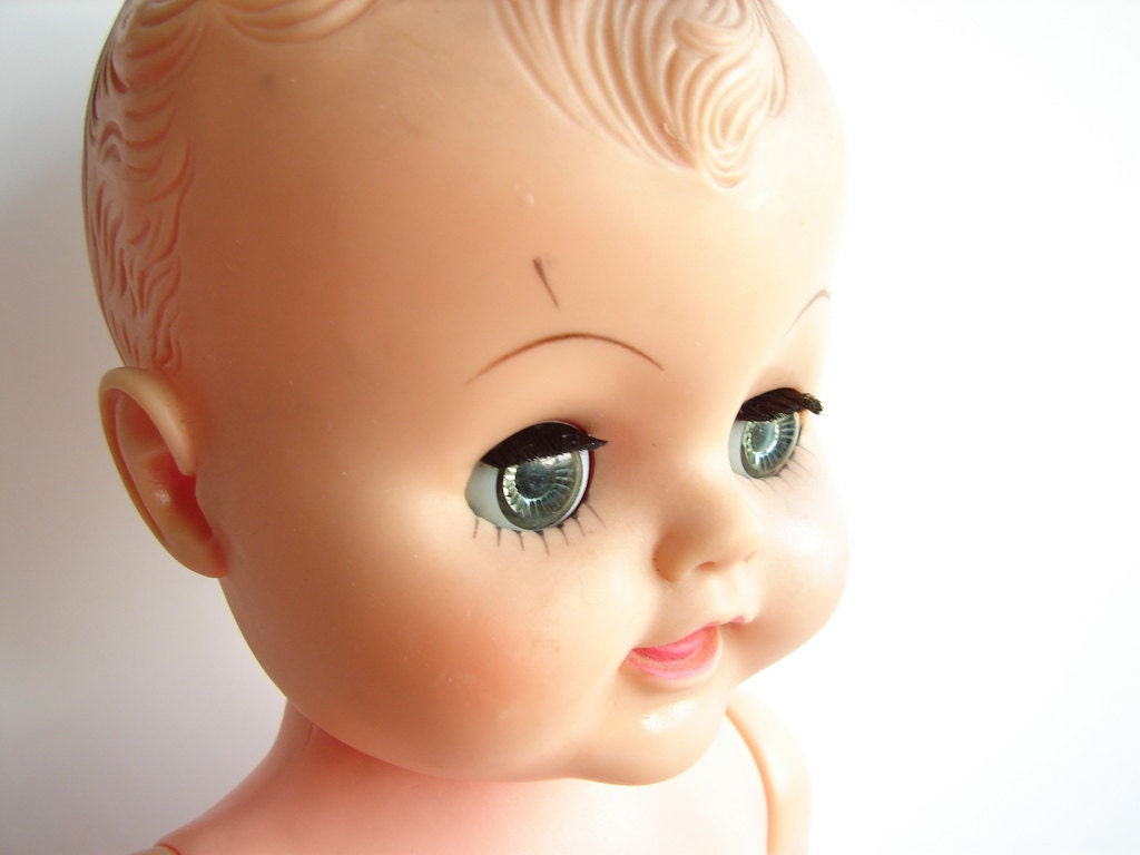 Vintage Sleepy Eye Baby Doll With Molded Hair Vinyl By