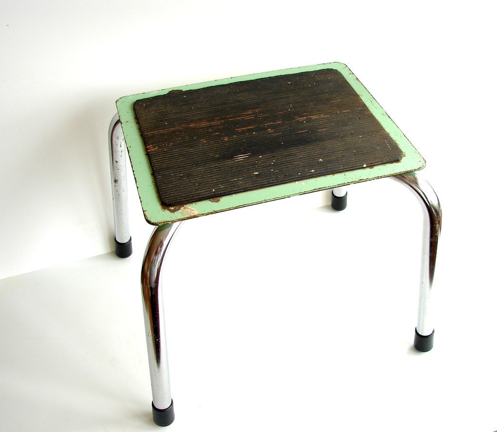 Vintage Industrial Metal Step Stool In Green And Chrome With