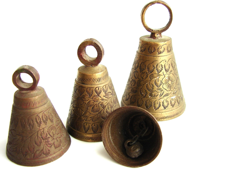 Vintage Brass Bells Set of 4 with Decorative Flower and Leaf
