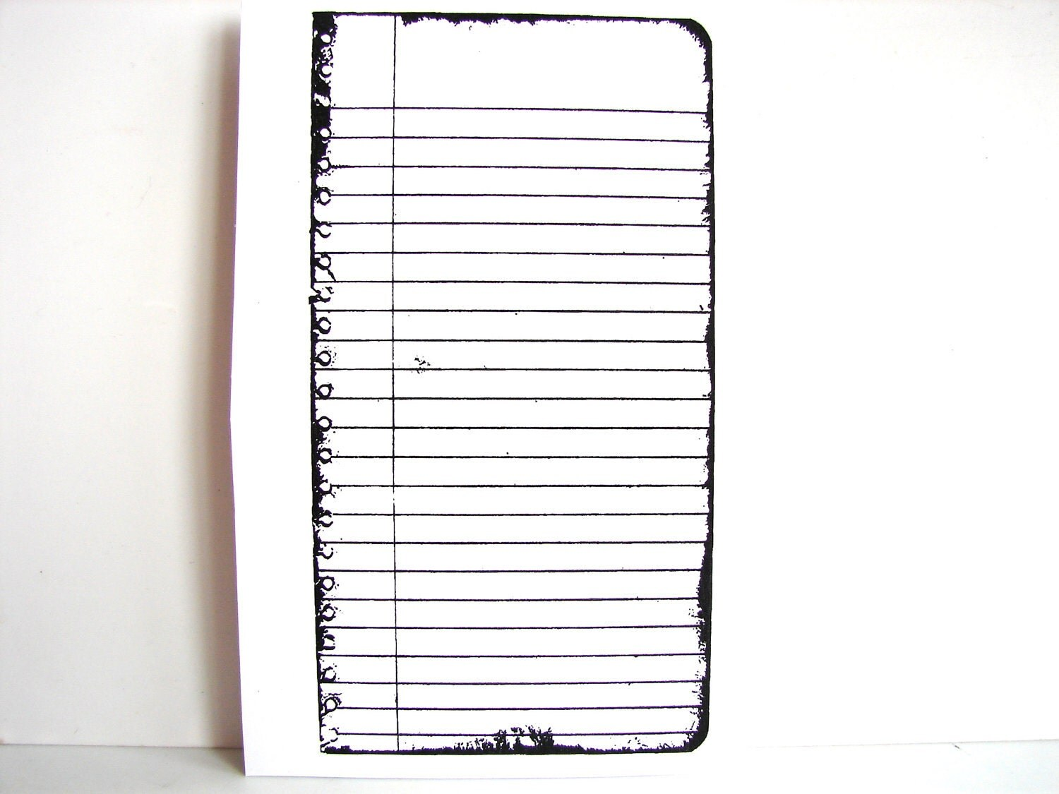 Lined Notebook Page / Journal Page Stamp Rubber By ThirdShift