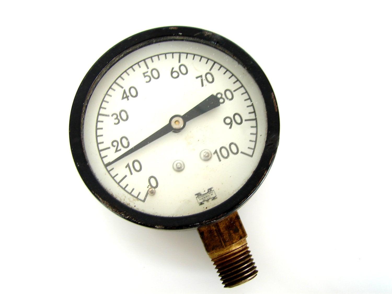Vintage pressure gauge in black and white by thirdshift on etsy - Steampunk pressure gauge ...
