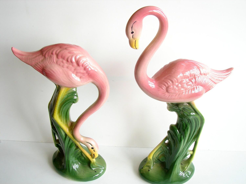Vintage Antique Pink Flamingo Figurines Set Of 2