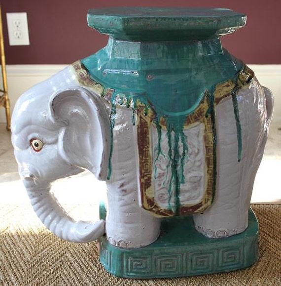 Items Similar To Vintage Elephant Garden Stool On Etsy