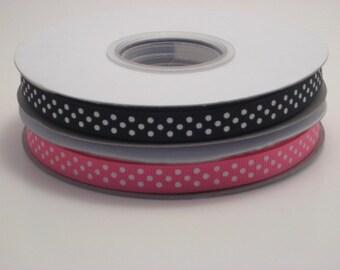 "3/8"" Pink and Black Ribbon Pack (3 yards of each ribbon)"