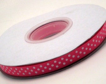 "3 Yards 3/8"" Pink With White Polka Dot Grosgrain Ribbon"