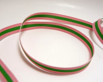 3 Yards Pink and Lime 3/8 inch Stripe Ribbon