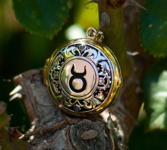 Black Phoenix Steampunk Zodiac Locket: Taurus