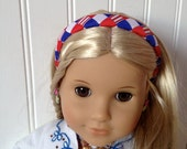 Headband for American Girl Doll, Red, White, Blue, Red stripe