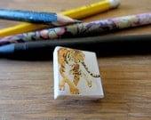 Square Tiger tile brooch