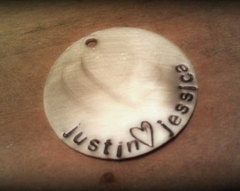 PERSONALIZED Hand-Stamped silver disc tag ADD-ON