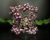 Bridal Cuff- Wire Wrapped Bracelet in  Purple Pearl & Swarovski Crystal  BridalSalon with EARRINGS