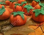 24 Fondant 3D Pumpkin for Standard Cupcakes, Super cute ssugar PUMPKINS for your cupcakes, cookies or cake decorations.