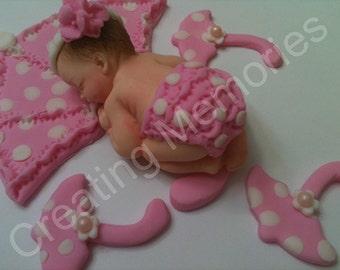 Little Girl with Pink Umbrella Set/ CakeTopper BABY SHOWER Celebration,Fondant,Gumpaste,you choose the color Edible Cake Topper