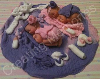 Twin Baby Girls - Includes DOME/Edible Cake Topper/BABY SHOWER/Cake Decorations/fondant Toppers