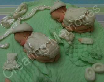 Twin Babies Boys Edible Cake Topper Made of Vanilla Fondant Cake Decorations White Outfit Green Blanket
